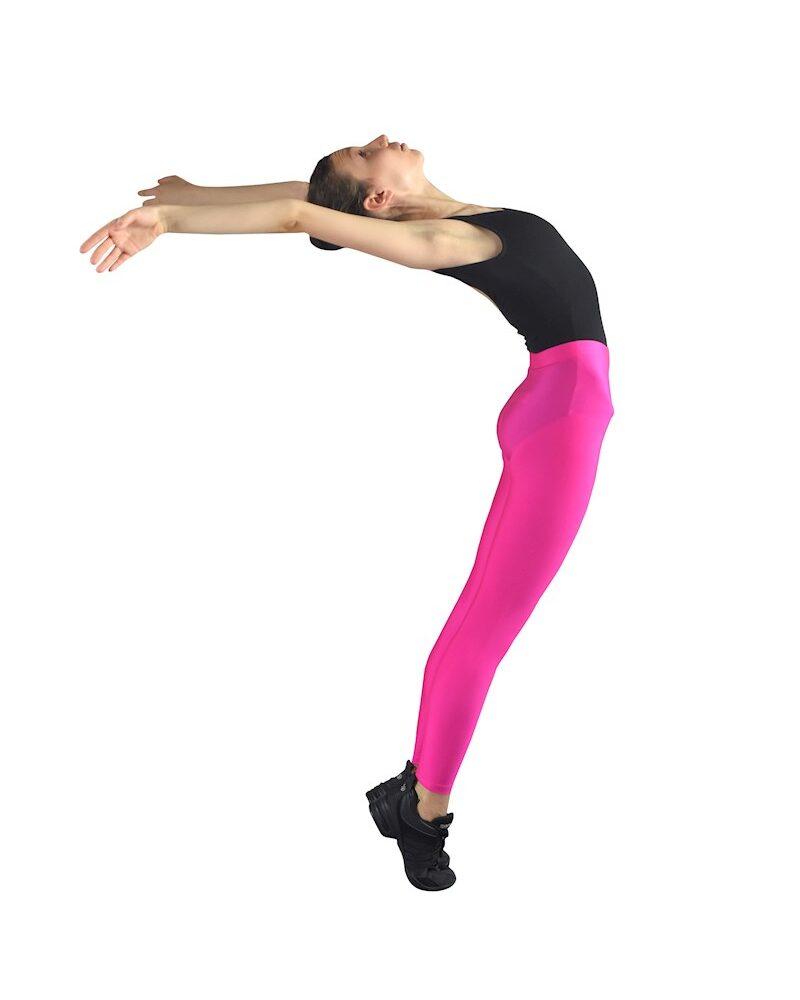 VIVID Girls/Womens Shiny Seamless High Waist 7/8 LYCRA Leggings (Hot Pink)