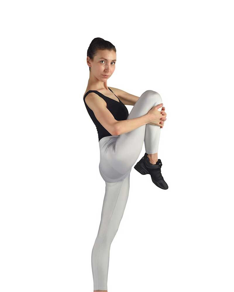 IRENE Girls/Womens Shiny Seamless High Waist 7/8 LYCRA Leggings (Silver)